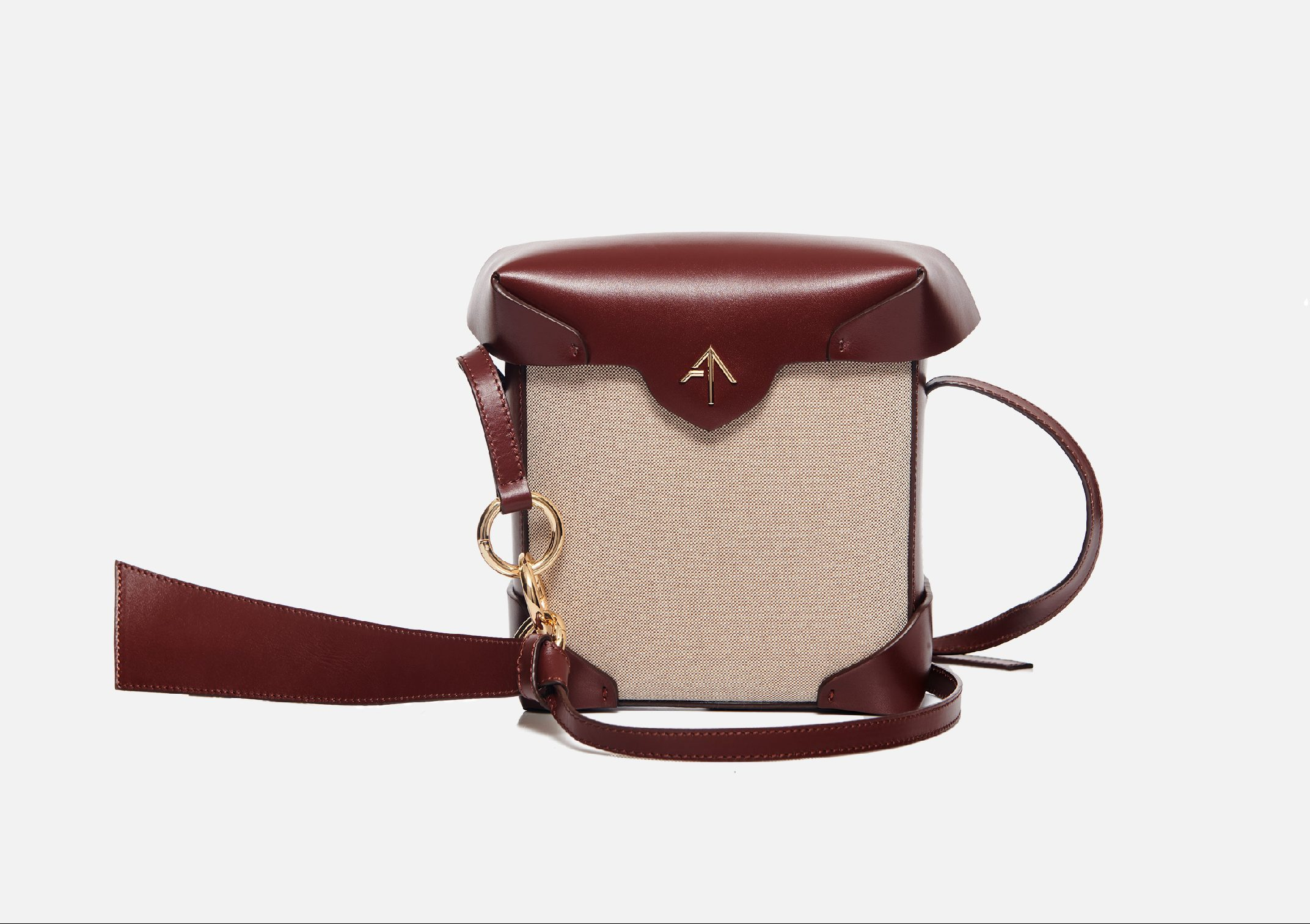 Manu Atelier mini-pristine beige cotton and reddish brown